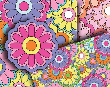 Groovy! 70's-Inspired Pattern Sheets and Stickers - 300, 16pp PDF and PNGs