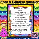 Groovy Attendance Spirit Week Editable Sample