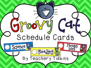 Groovy Cat Themed Schedule Cards