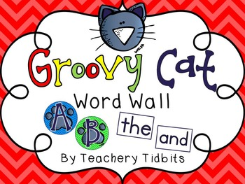 Groovy Cat Themed Word Wall {EDITABLE}