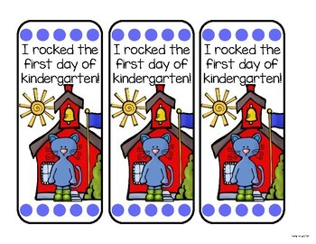 Groovy Cat book marks- first day of school