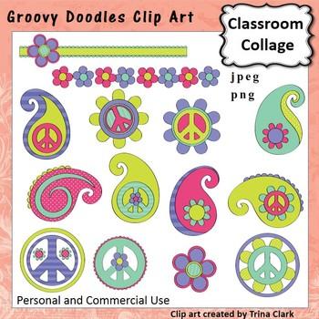 Groovy Doodles Peace Paisely Clip Art - Color - personal &