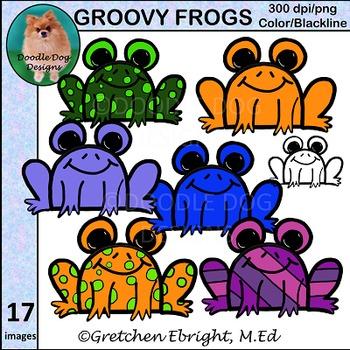 Groovy Frogs Clip Art Set