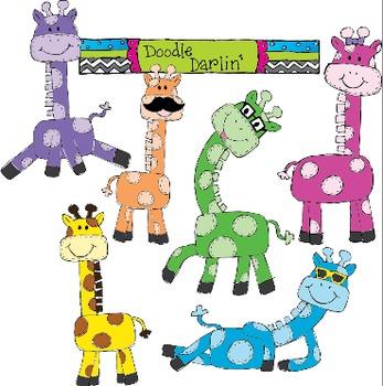Groovy Giraffes Clipart Set
