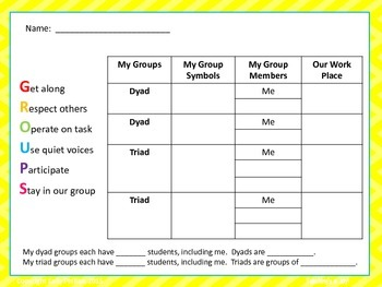 Groovy Grouping Name Cards (Classes Up to 18)