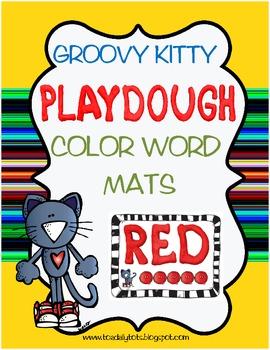 Groovy Kitty Color Words Playdough Mats