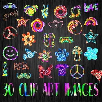 Groovy Tie Dye Clip Art - 30 Png Clipart Images