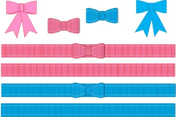 Grosgrain Ribbons, Bows and Satin style bow Clip Art: personal or commercial use