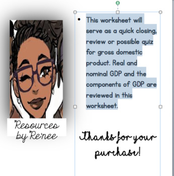 Gross Domestic Product Worksheet