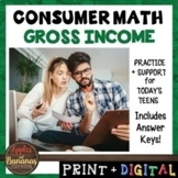 Gross Income - Consumer Math Unit (Notes, Practice, Test,