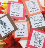 Gross Motor Movement Cards for an Autumn / Fall