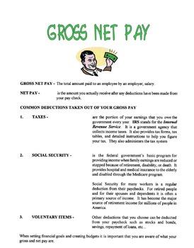 Gross Net Pay Lesson