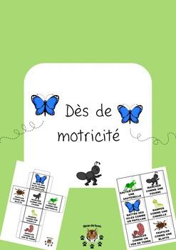 Gross motor dice bugs french - Dès de motricité insectes
