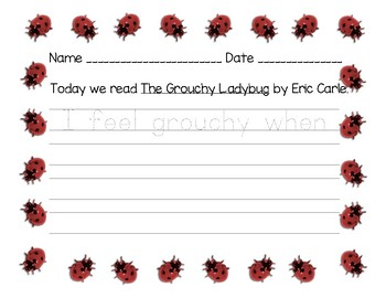 Grouchy Ladybug writing activity