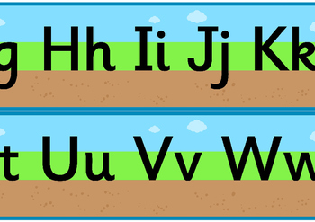 Ground Grass Sky Upper and Lowercase Alphabet Strip
