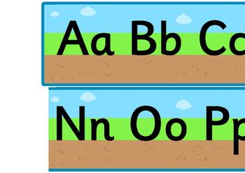 Ground Grass Sky Upper and Lowercase Alphabet Strip