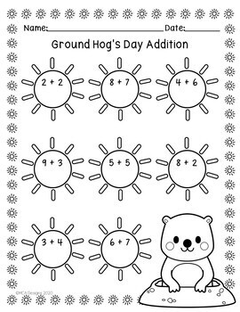 Ground Hog Day - Addition and Subtraction
