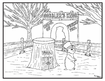 Groundhog Day Coloring Pages, Word Search and Cut Paste Prediction Activity Set