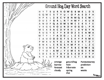 Groundhog Day Coloring Pages Word Search And Cut Paste Prediction