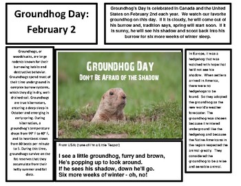 Ground Hogs Day Reading Comprehension Passage and Reading Article
