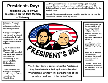Ground Hogs Day and President's Day Reading Article