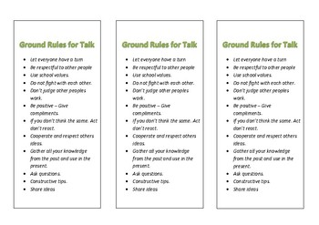 Ground Rules for Talk