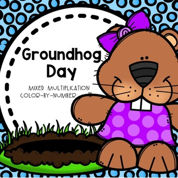 GroundHogs Day Multiplication Color-By-Number