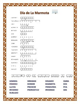Groundhog Day- La Marmota-  Word Search and Double Puzzle-Spanish