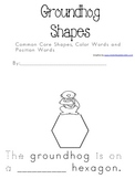 Groundhog 2-d 3-d Shapes, color words and Position Word Student Book