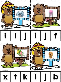 Groundhog ABCs & 123s Clip Cards {NO DITTOS}