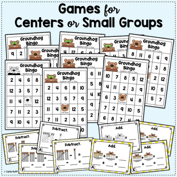 GROUNDHOG DAY ADDITION AND SUBTRACTION Games and Worksheets
