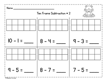 Groundhog Addition and Subtraction Ten Frames