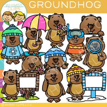 Seasonal Groundhog Clip Art