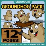 Groundhog Clipart Bundle / Cartoon Groundhog Day Clip Art Set!
