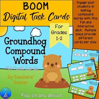 Groundhog Compound Words: BOOM Digital Task Cards