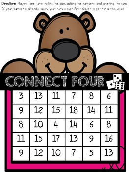 GROUNDHOG DAY CONNECT FOUR - 3 Addends