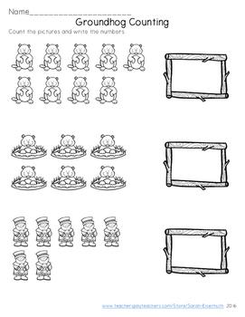 Groundhog Counting Worksheet - FREEBIE