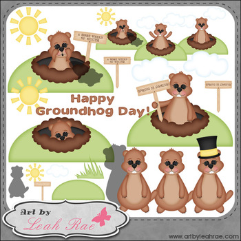 Groundhog Day 1 - Art by Leah Rae Clip Art & Digital Stamps
