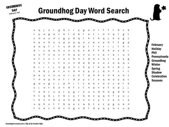 Groundhog Day Activity   Groundhog Day Word Search