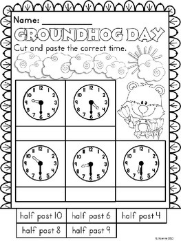 Groundhog Day Telling Time Clock