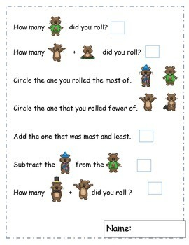 Groundhog Day Activities, Learning Cube, Roll, Graph, Count, February Activities