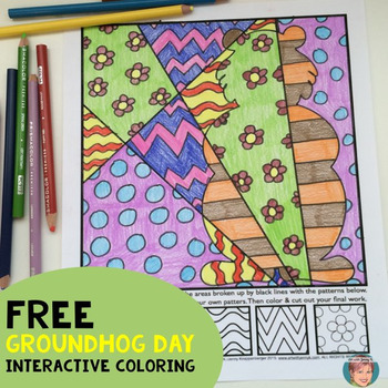 Pop Art Interactive Coloring Sheets for Groundhog Day - FREE