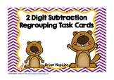 Groundhog Day 2 Digit Subtraction Regrouping Task Cards
