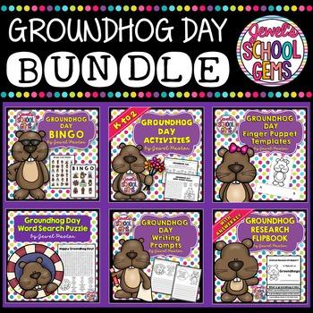 Groundhog Day Activities BUNDLE (Flipbook, Writing, Worksheets, Bingo & Crafts)