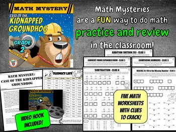 2nd Grade Groundhog Day Activity - Math Mystery Game Worksheets