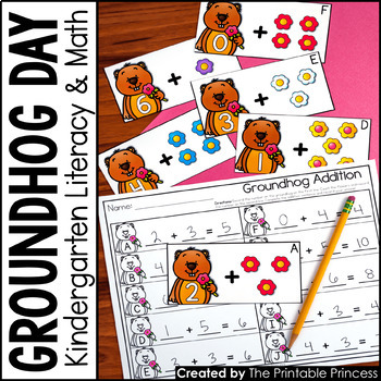Kindergarten Groundhog Day Centers for Math and Literacy A
