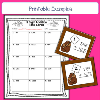Groundhog Day 3 Digit Addition Task Cards