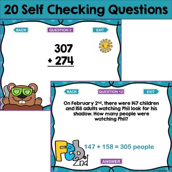 Groundhog Day 3 Digit Addition and Subtraction Digital Game