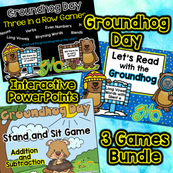 Groundhog Day - 3 Interactive Power Point Games Bundle