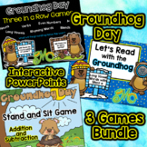 Groundhog Day - 3 Interactive Power Point Games Bundle
